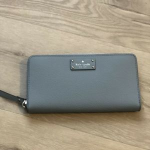Kate Spade Blue Dawn Leather Zip Around Wallet